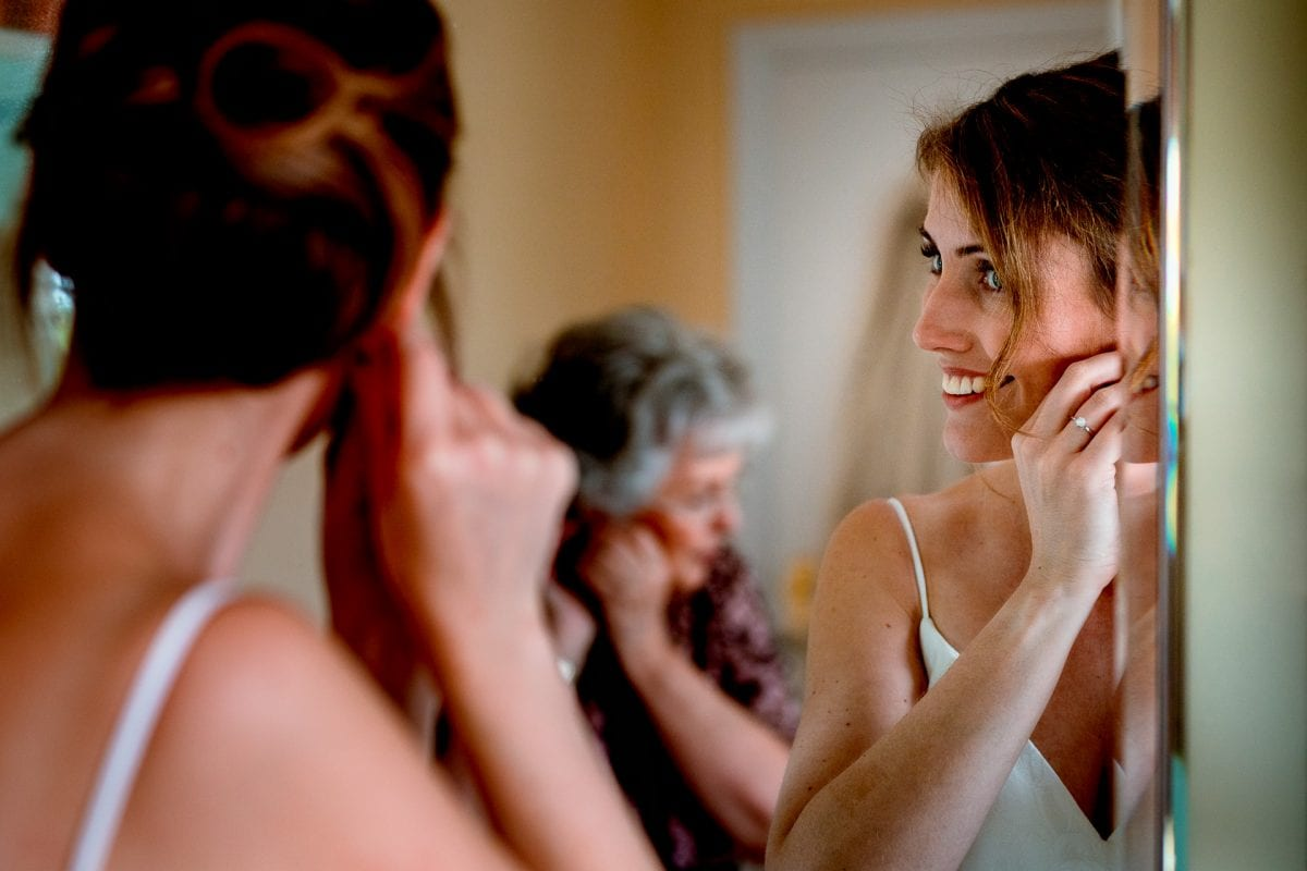 Bride getting ready at home