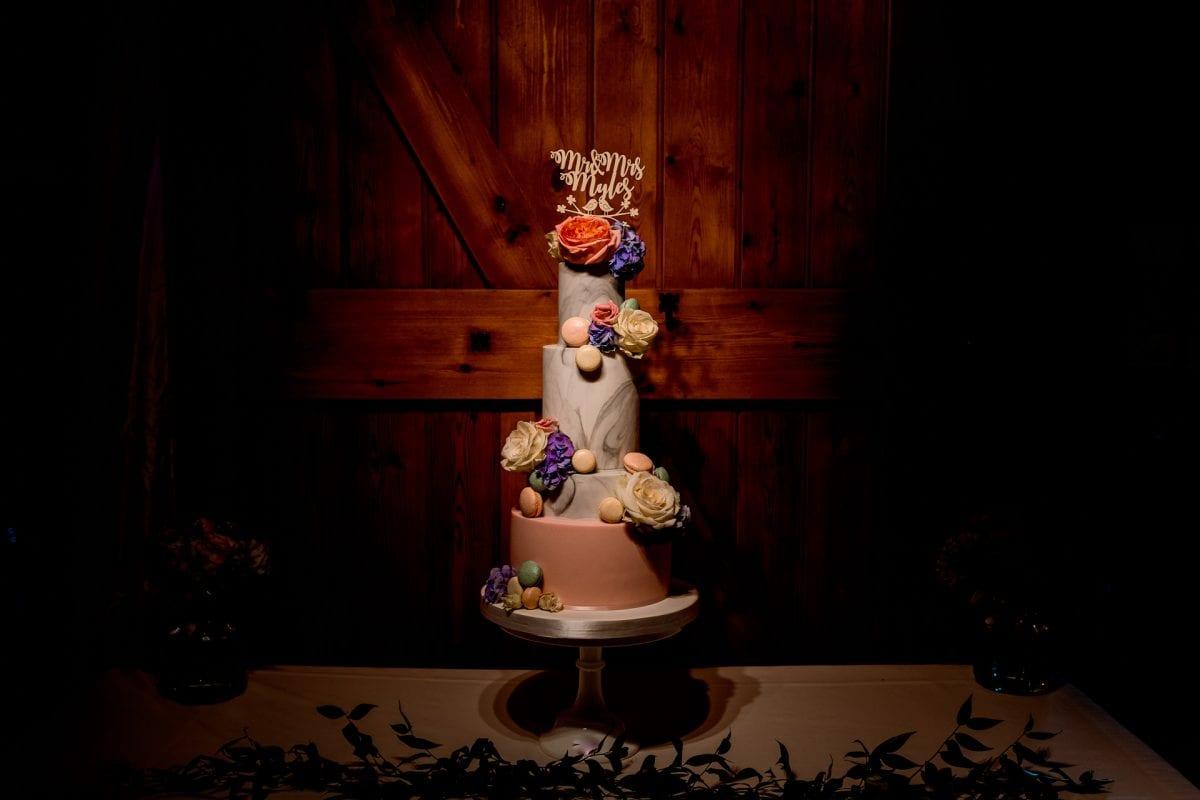 Wedding Photographer Notley Tythe Barn Buckinghamshire incredible cake!