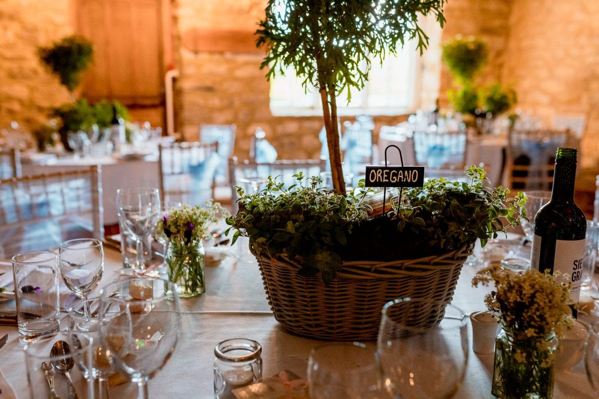 Wedding Photographer Notley Tythe Barn Buckinghamshire table setting