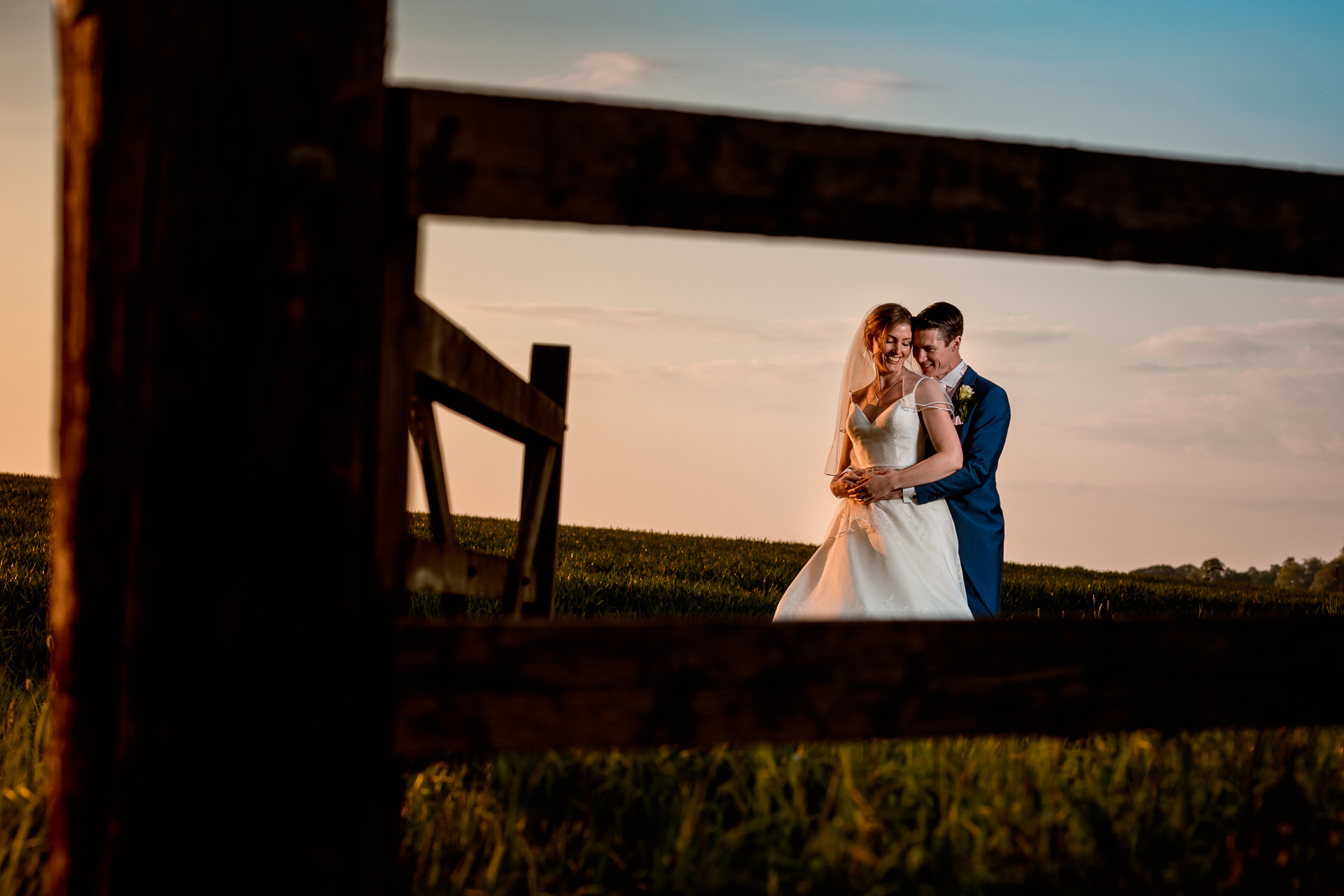 Wedding couple in the grounds of Notley Tythe Barn Buckinghamshire