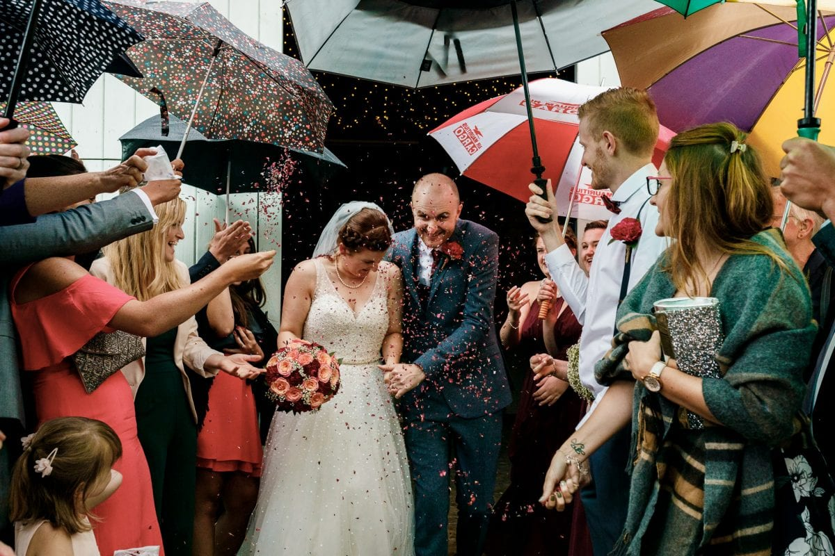 Confetti Throw through a tunnel of umbrellas. What to do if it rains on my wedding day?