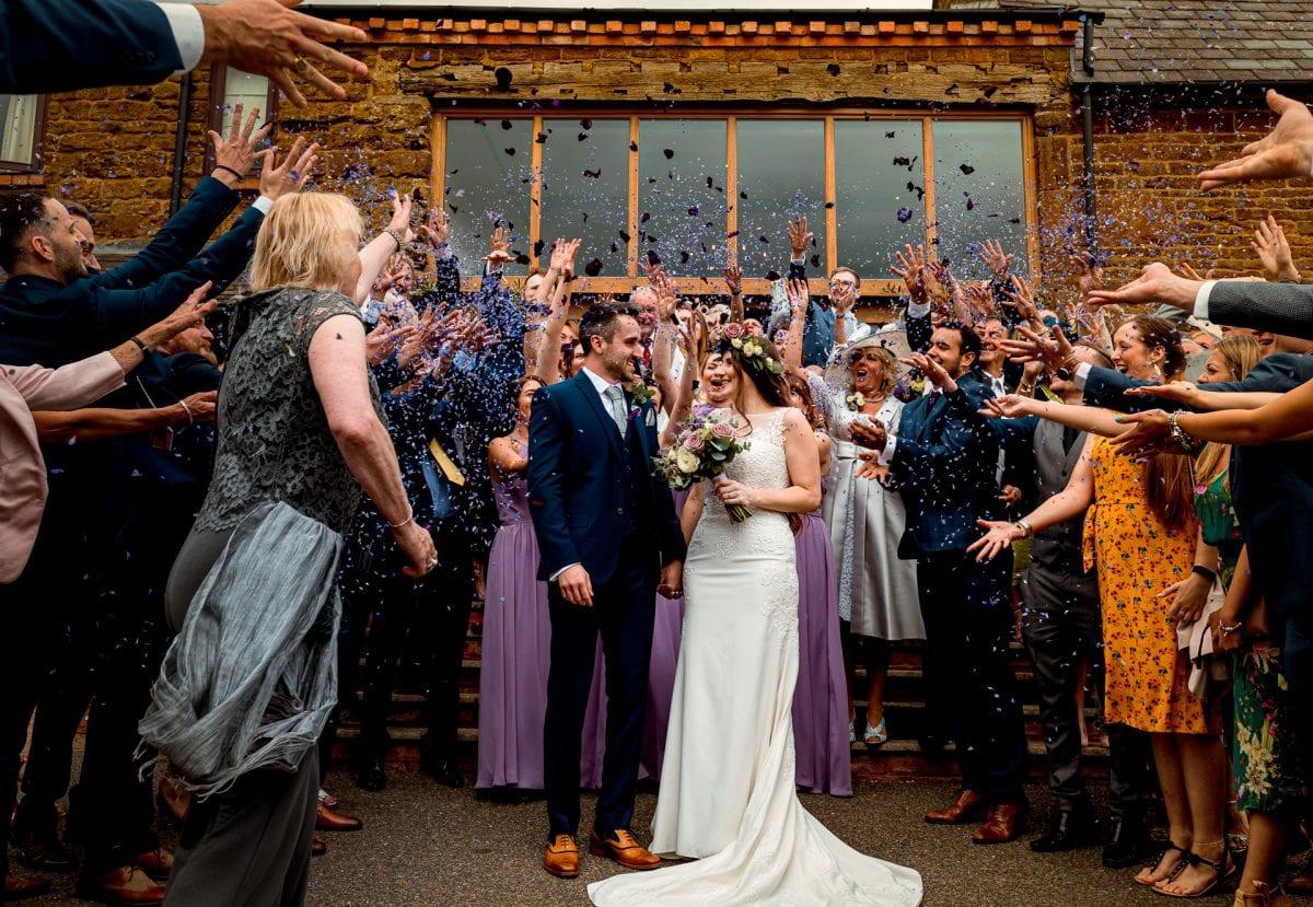 Confetti Throw Crockwell Farm Wedding Venue Northamptonshire