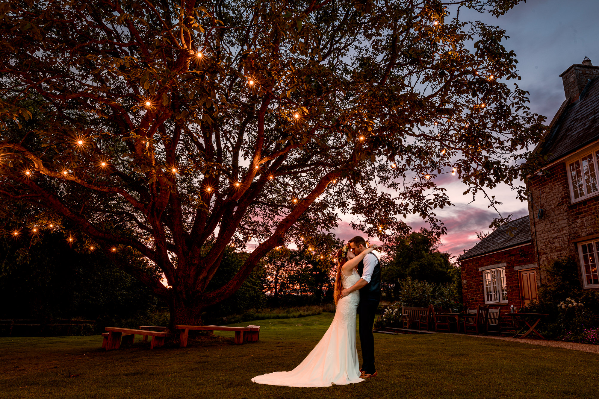 Crockwell Farm Wedding Photography, Couple under Sunset Tree