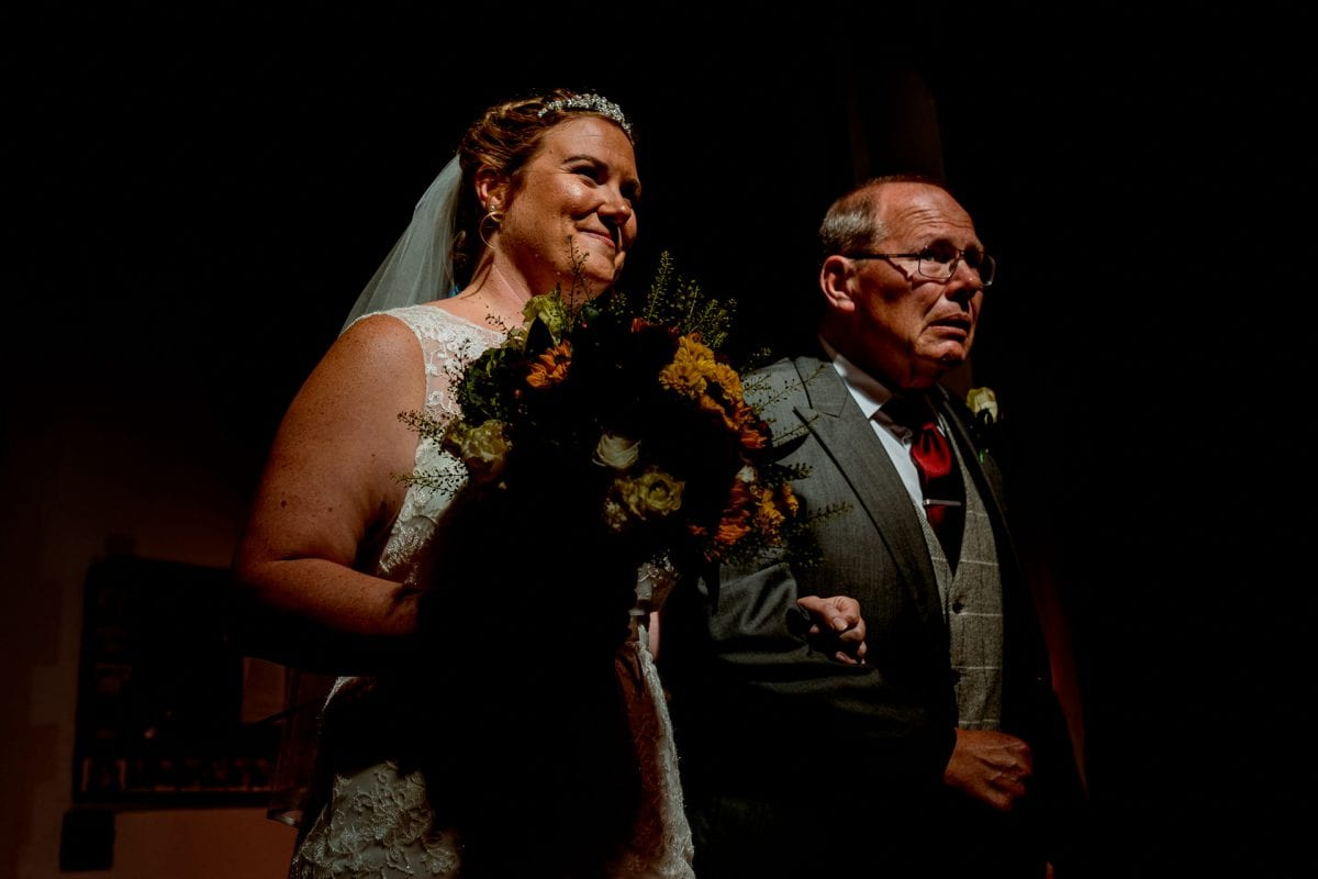 dad escorting the bride into the church Wedding Photographer St Mary's Church Wendover Aylesbury Buckinghamshire