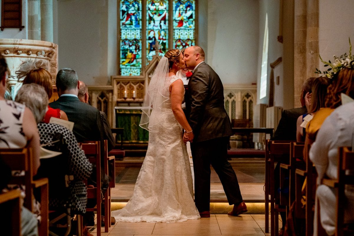 first kiss Wedding Photographer St Mary's Church Wendover Aylesbury Buckinghamshire