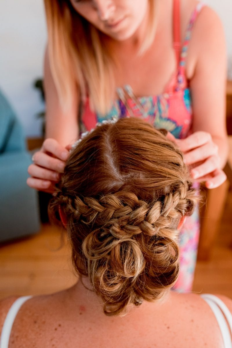 Wedding Photographer Buckinghamshire bride getting ready at home hair styling