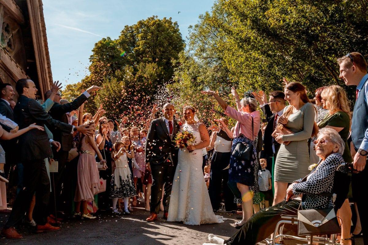 Confetti throw Wedding Photographer St Mary's Church Wendover Aylesbury Buckinghamshire