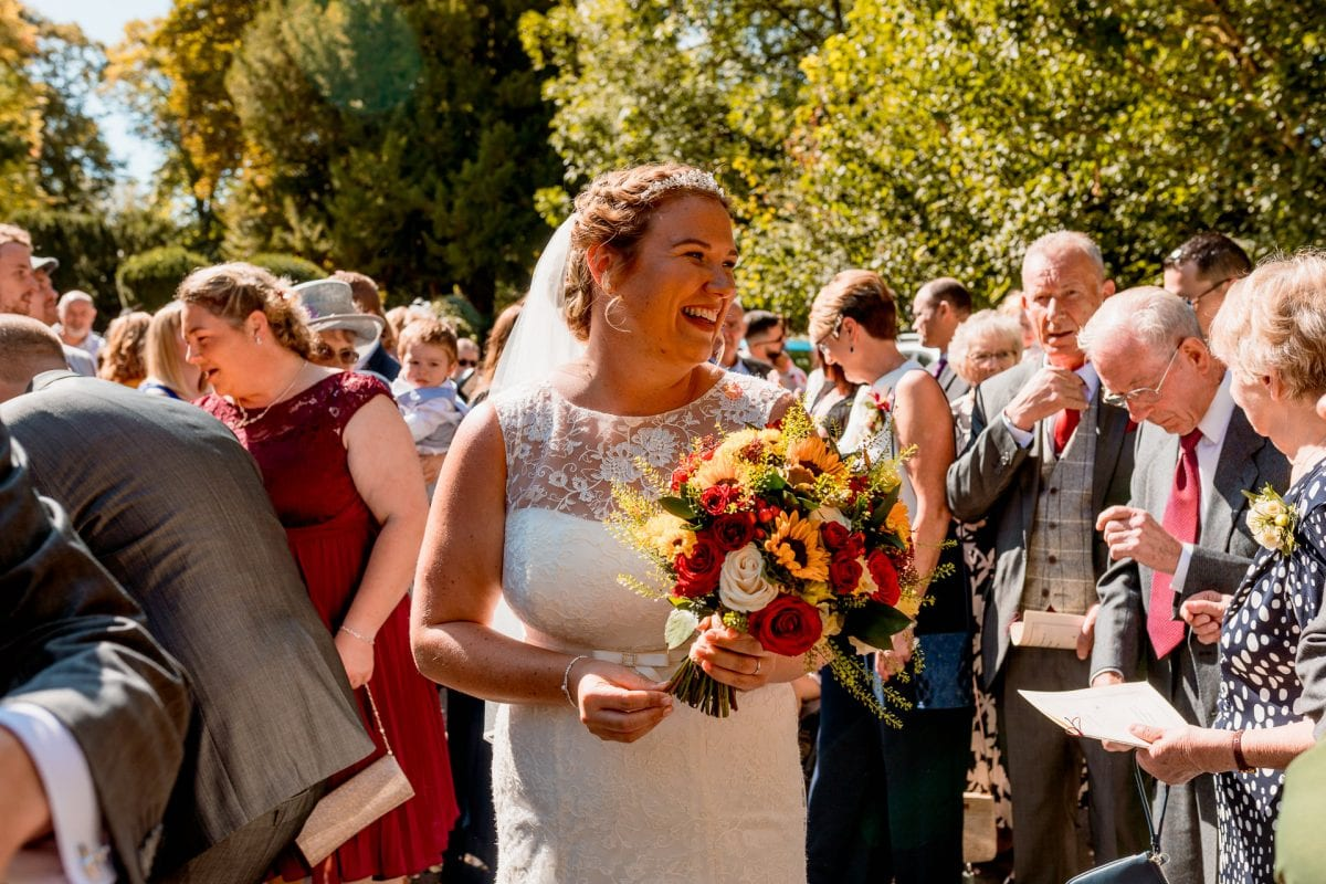 bride with her bouquet Wedding Photographer St Mary's Church Wendover Aylesbury Buckinghamshire