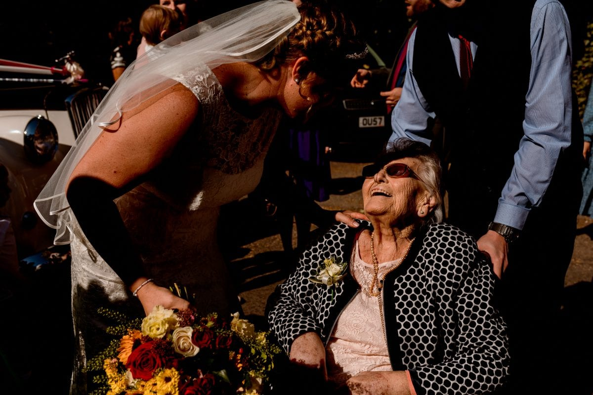 Wedding Photographer St Mary's Church Wendover Aylesbury Buckinghamshire Bride with her nan