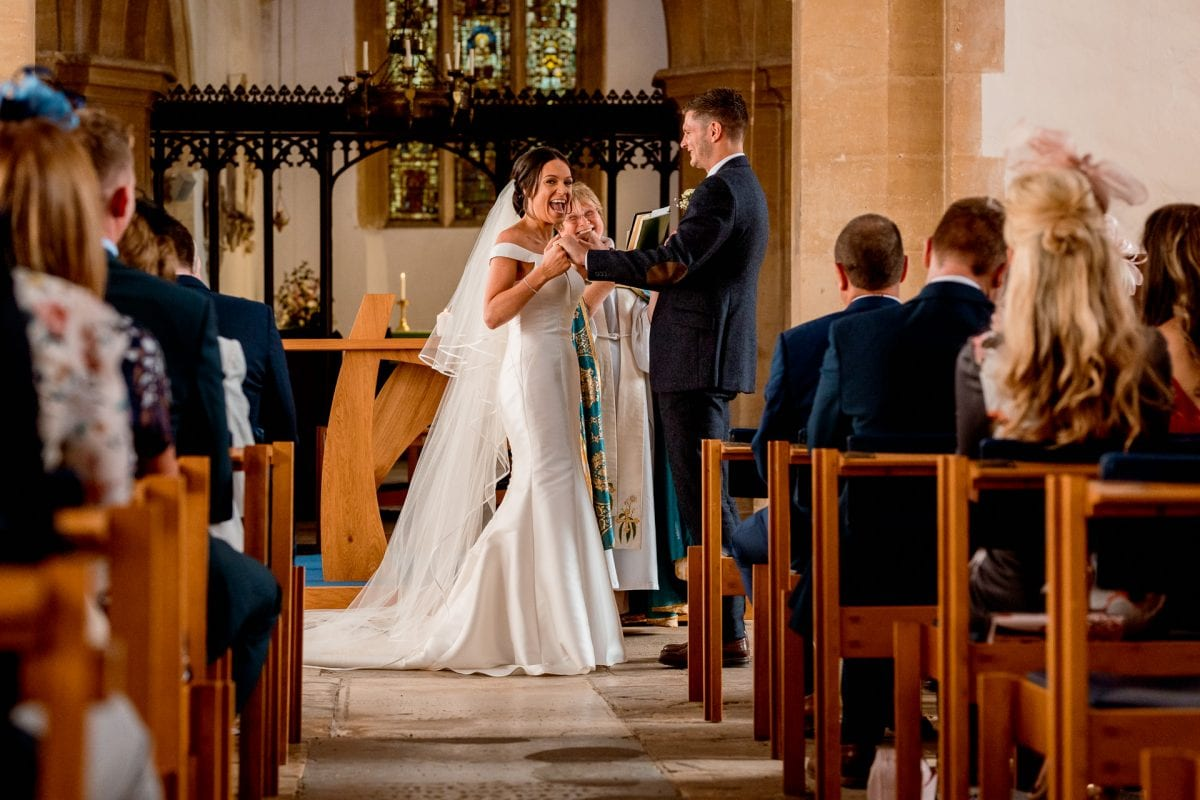 St Mary's Church Kidlington bride excited she is now married