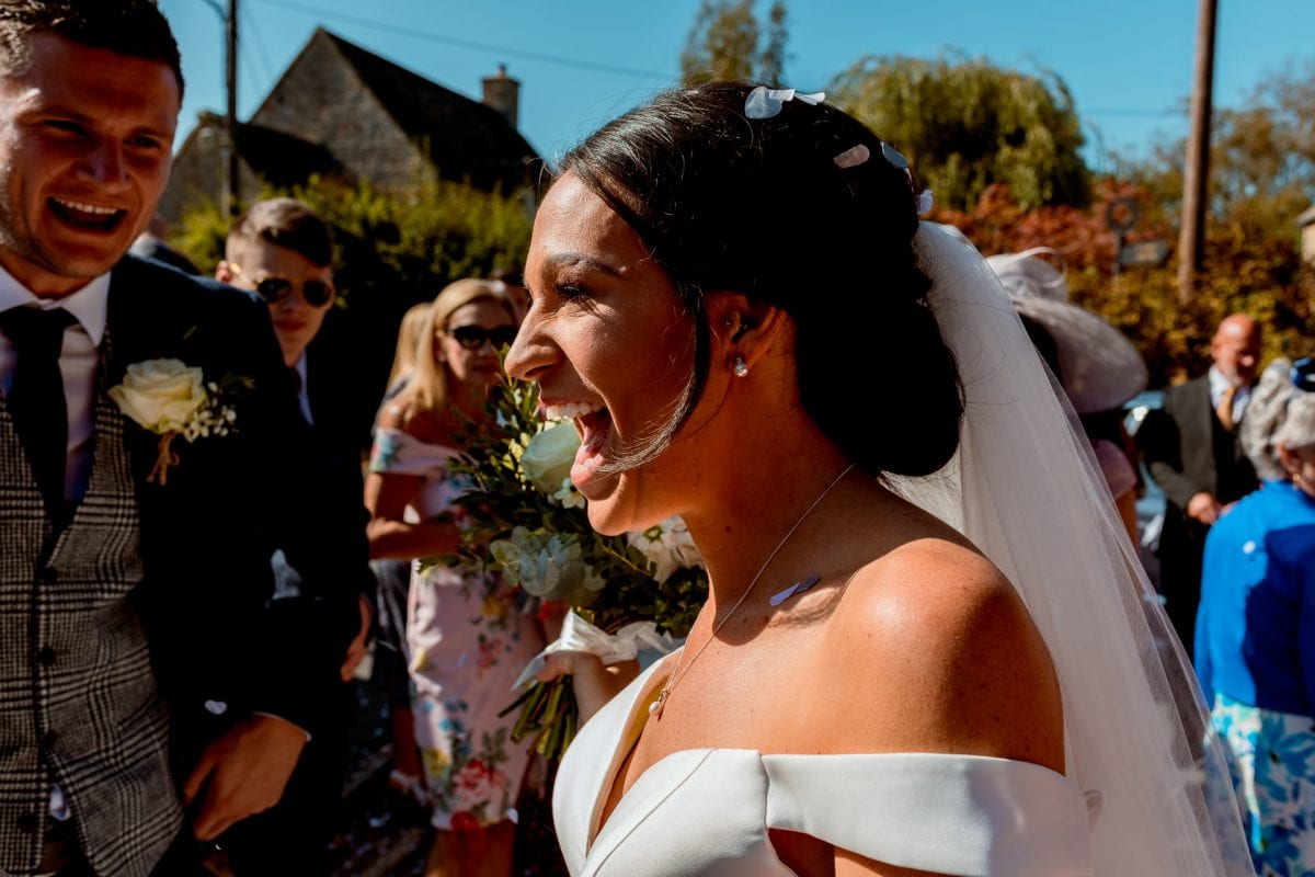 St Mary's Church Kidlington happy bride smiling