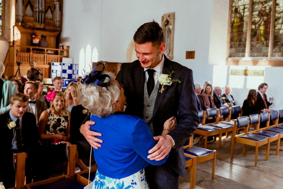 St Mary's Church Kidlington groom greeting his grandmother
