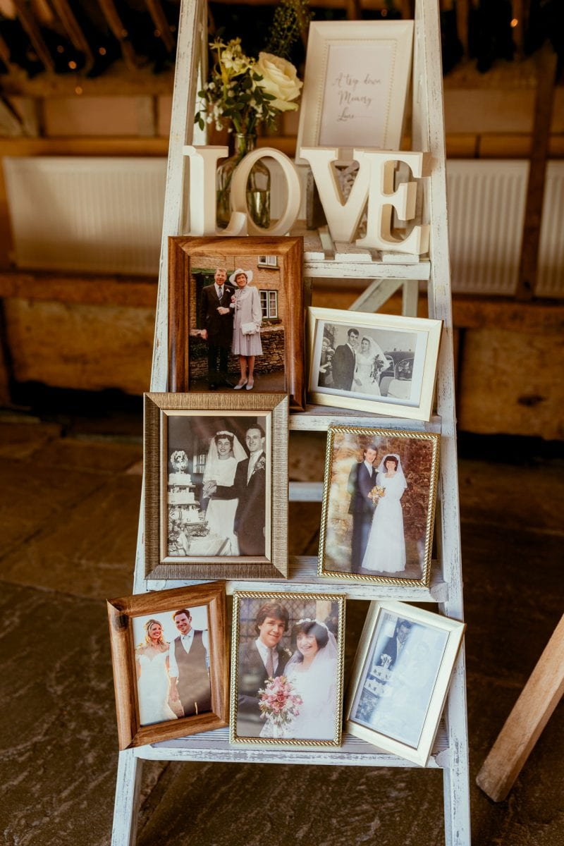 lains barn wedding photography blog oxfordshire  framed images of parents and grandparents of their wedding days