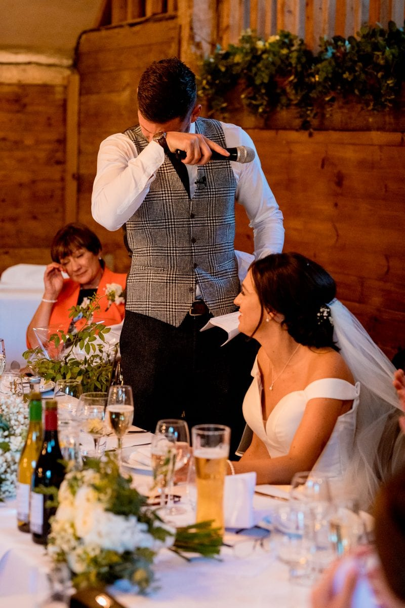lains barn wedding photography blog oxfordshire  groom becoming emotional