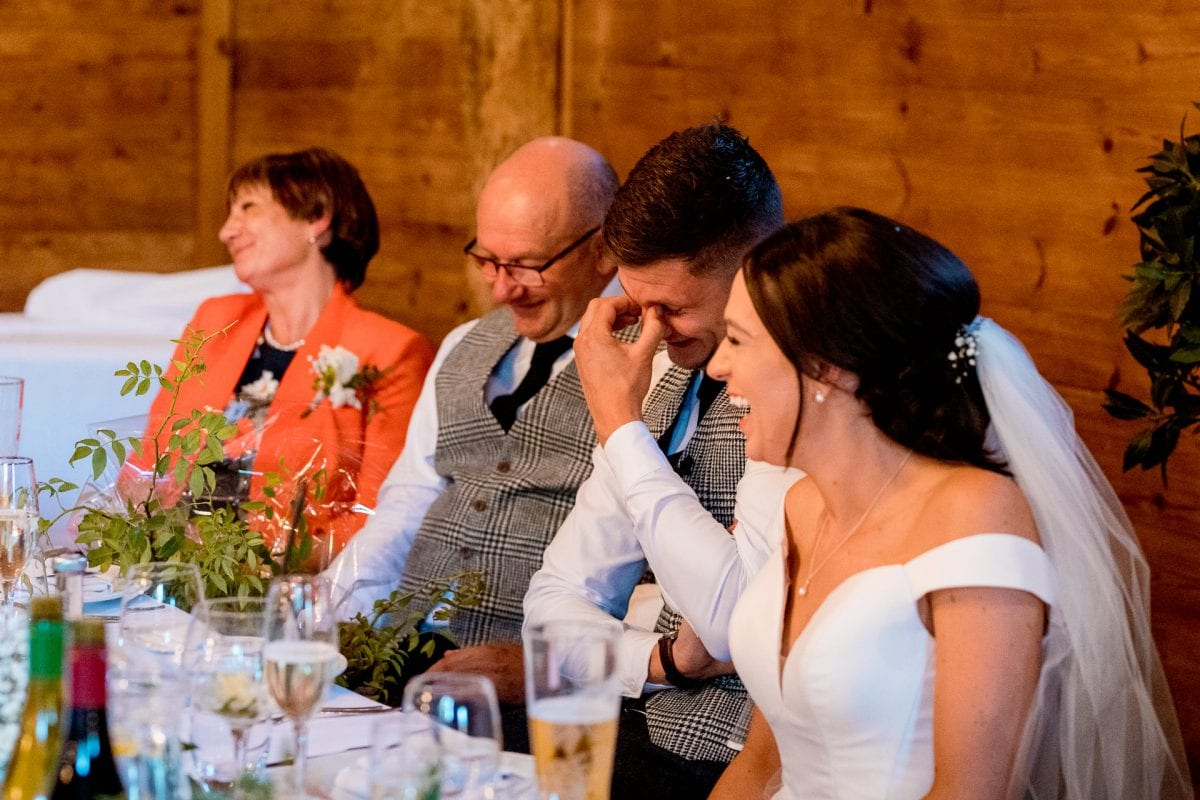 lains barn wedding photography blog oxfordshire groom cringing