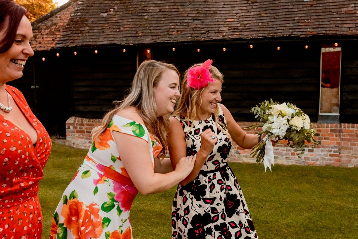 lains barn wedding photography blog oxfordshire lucky guest who caught the bouquet