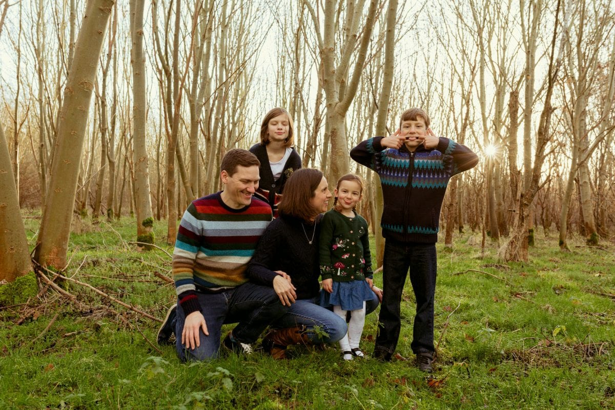 Family having fun in Kidlington Woodland