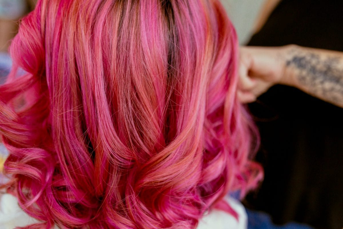 Bride with Pink hair on her wedding day