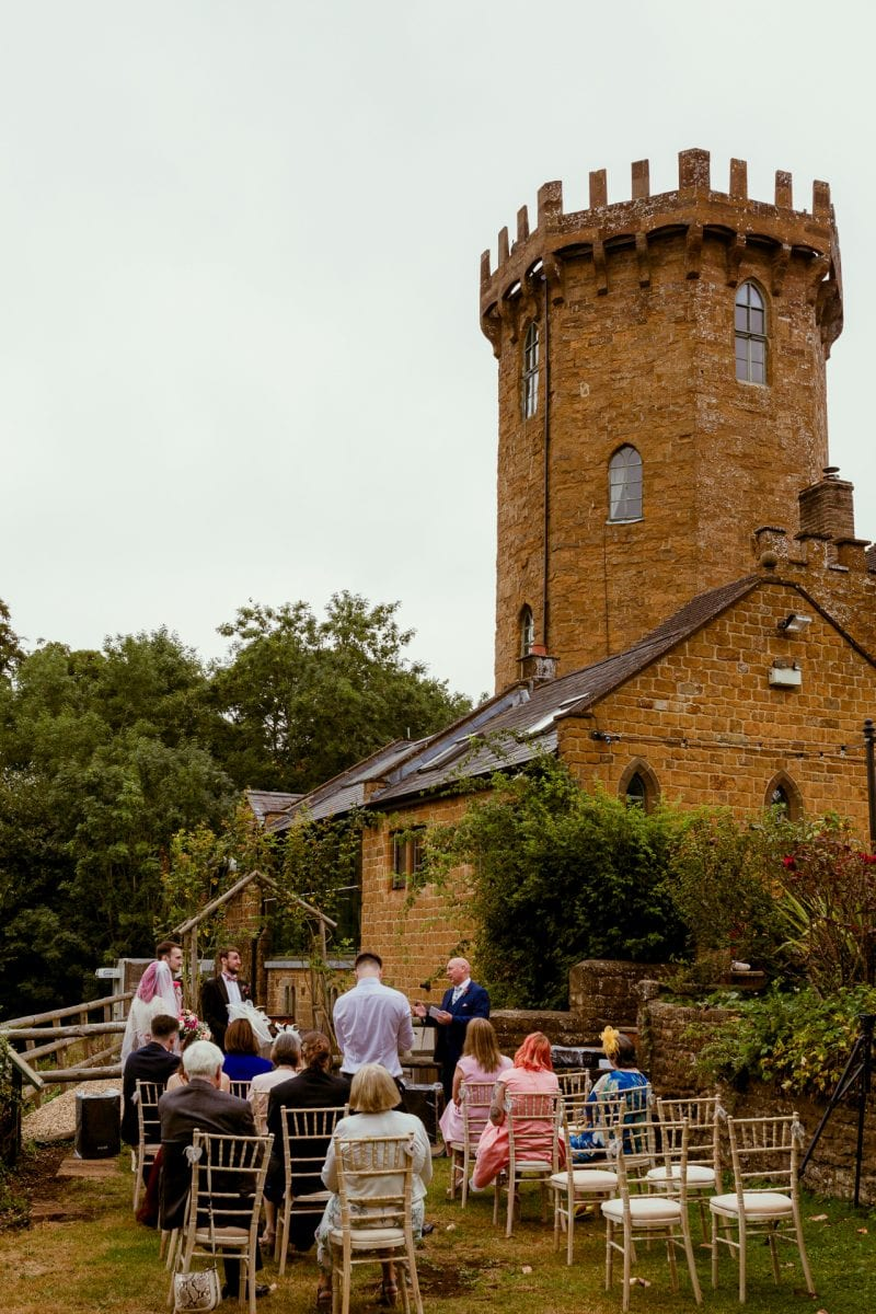 Wedding ceremony outside at The Castle Edgehill