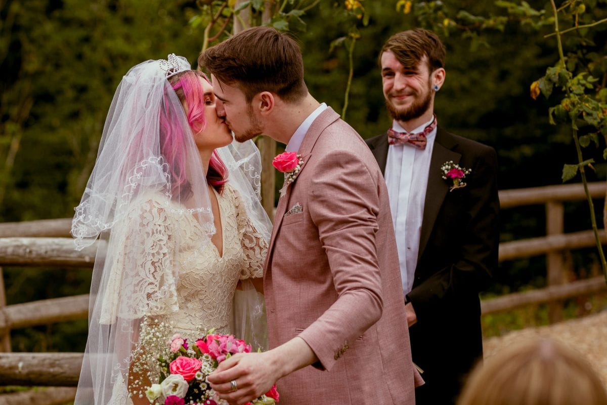 First Kiss for a wedding couple