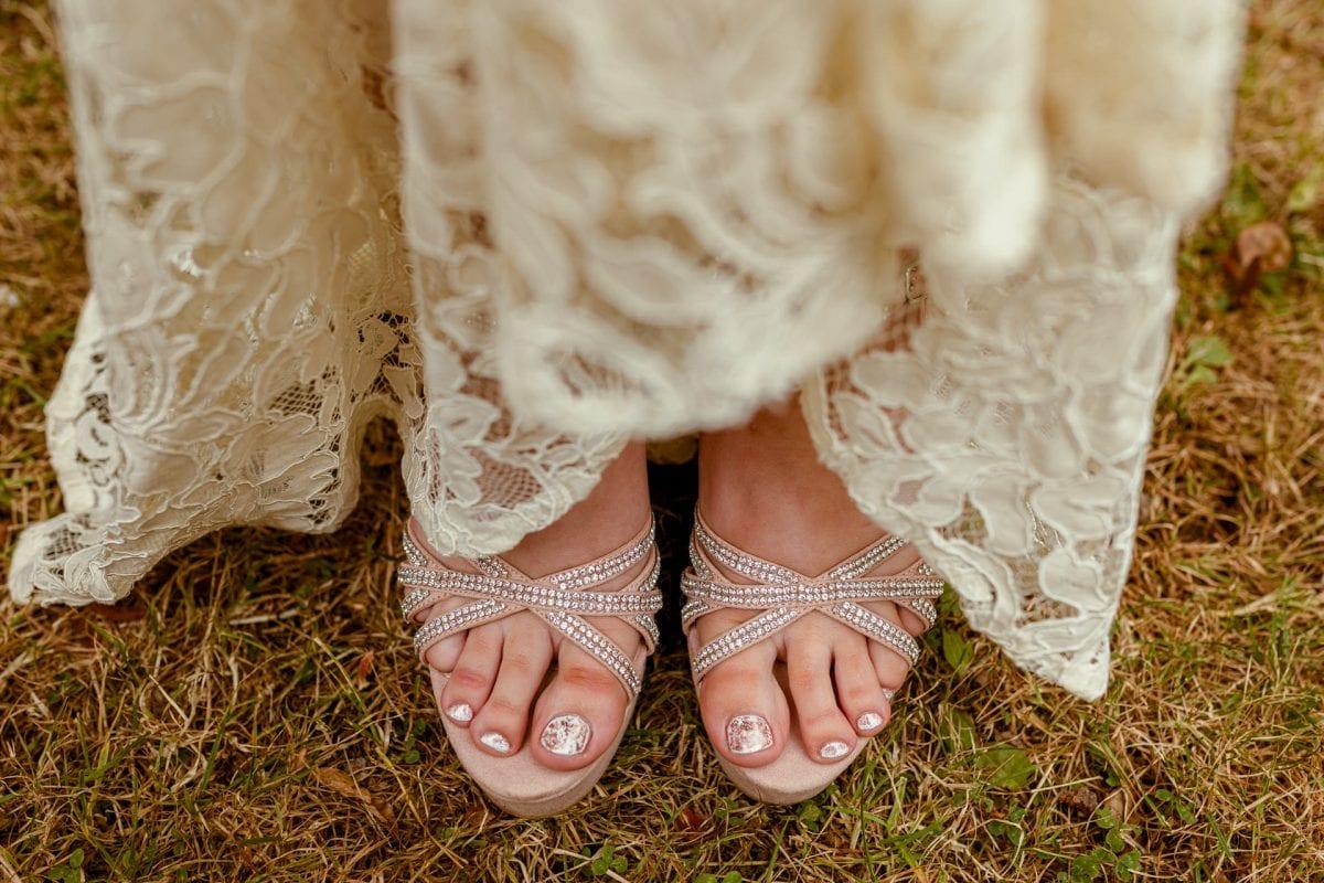 Wedding shoes of a bride