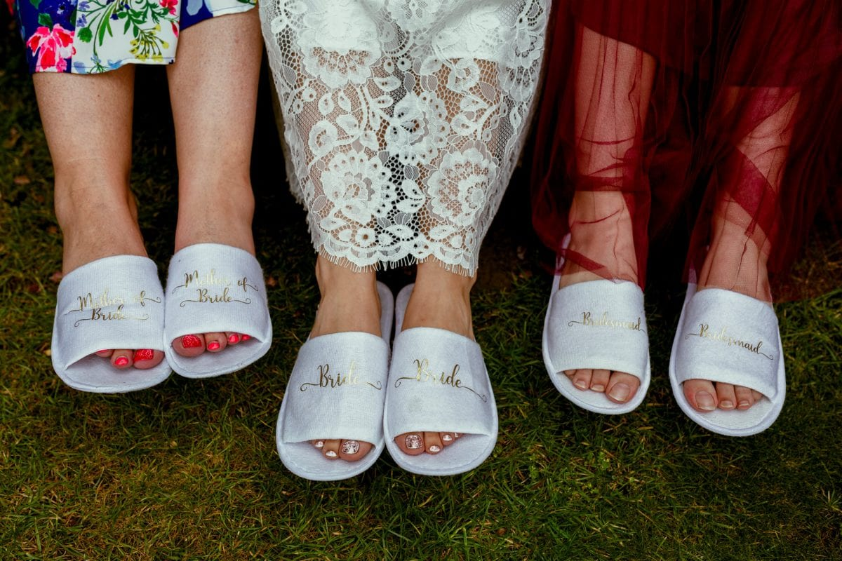 Personalised wedding day slippers for the girls