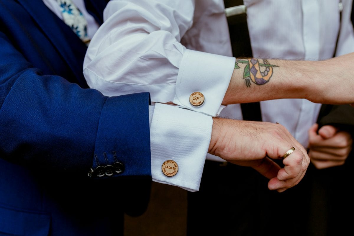 Personalised shirt cufflinks for a wedding day