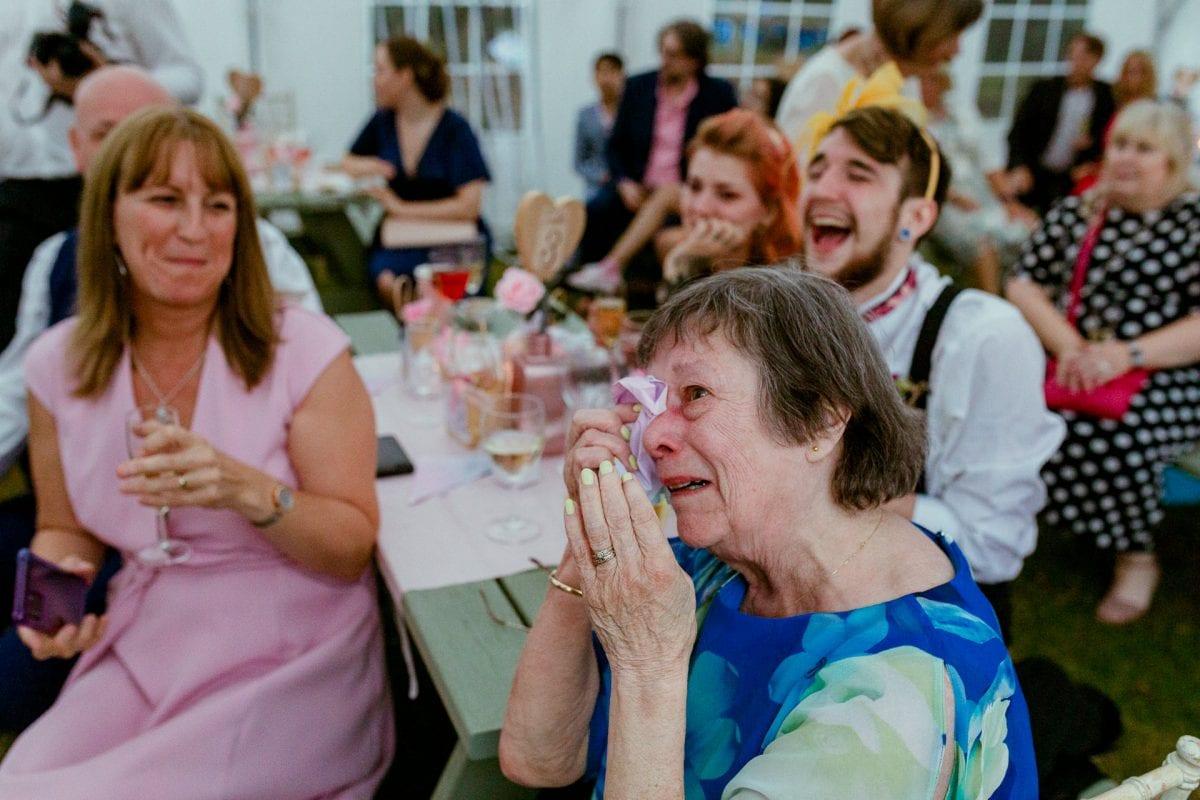 Nan crying at a wedding