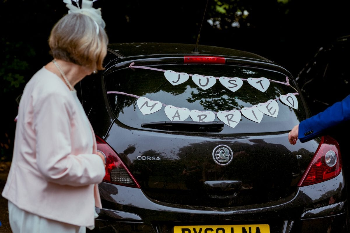 Just Married on a car